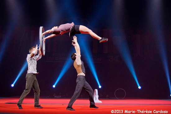 Trio Anneaux: Maya Kesselman, Ian Vasquez, and Michael Hottier with their inovative hoop diving act, filled with theatrics, beauty, and excitement.